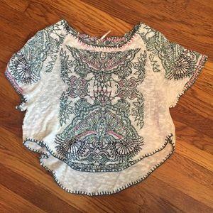 Free People Boho Design White Sweater T shirt